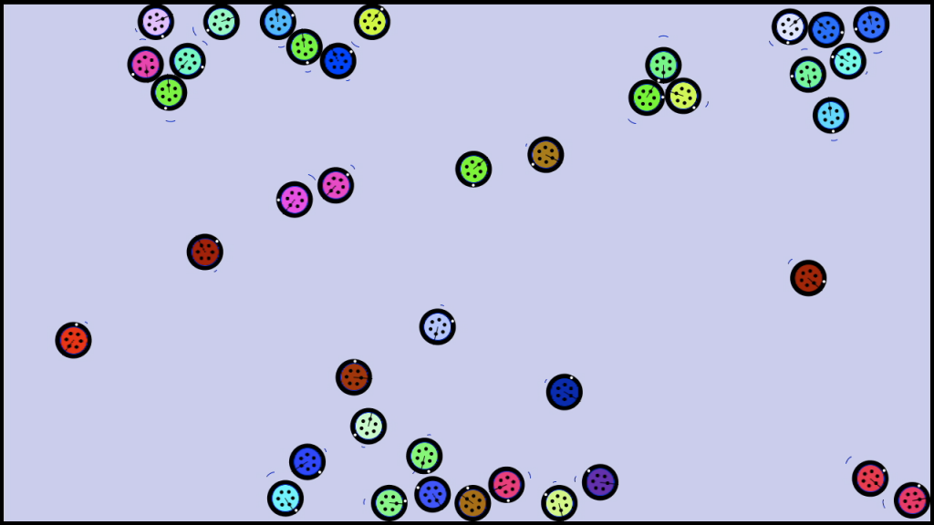 Computer simulation of the robots